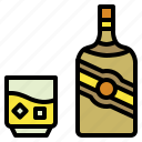 alcohol, bottle, drink, glass, ice, whisky icon