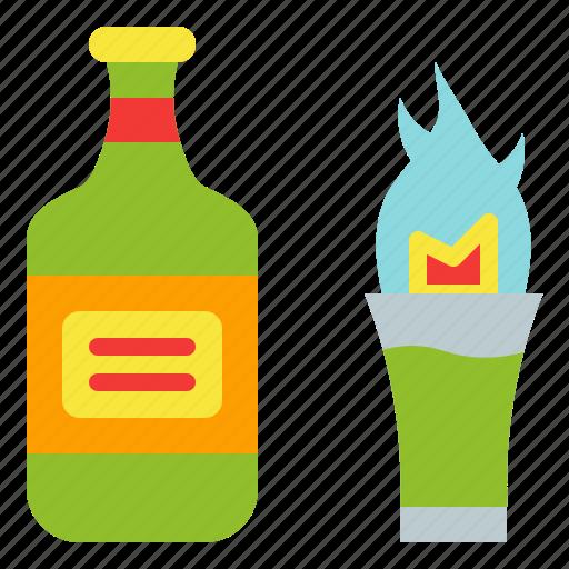 absinthe, bottle, drink, fire, glass icon