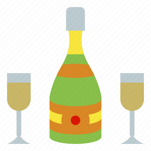 bottle, champagne, drink, glass, wine icon