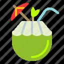 coconut, drink, fresh, umbrella