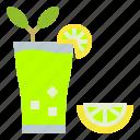 drink, glass, ice, lemon, lemonade