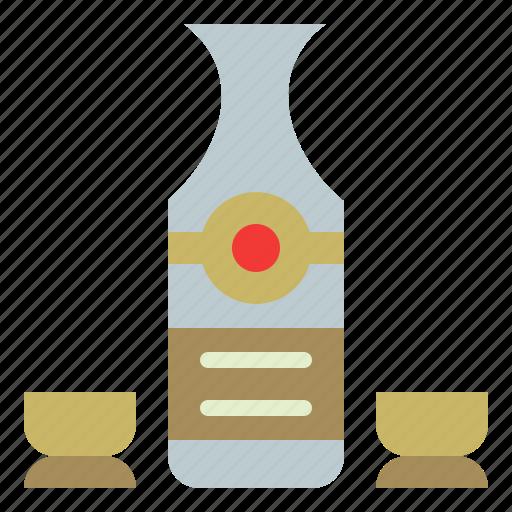 bottle, drink, glass, sake icon