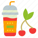 cherry, cup, drink, smoothie, takeaway