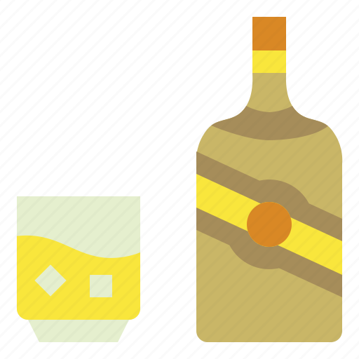 bottle, drink, glass, ice, whisky icon