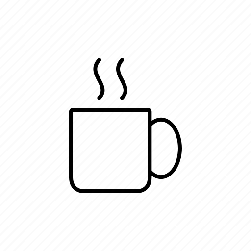 coffee, cup, drink, glass, hot, line, water icon