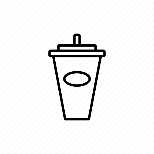 cup, drink, ice, juicy, line, menu icon