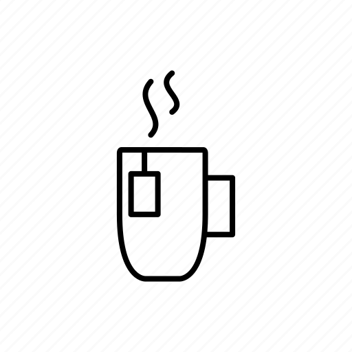 cup, drink, glass, hot, line, tea, water icon