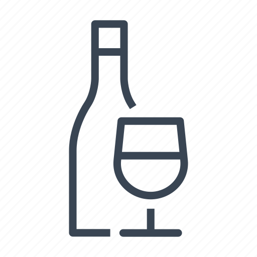 bottle, glass, red, white, wine icon