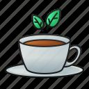 tea, leaves, cup, drink, beverage, hot