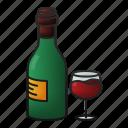 wine, bottle, glass, drink, beverage