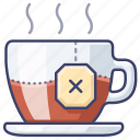 hot, mug, tea, teabag icon