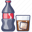 bottle, glass, cola, cold