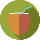 beverage, coconut, drink, milk, straw, tropical icon