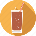 beverage, cola, drink, glass, soft, sparkling, straw icon