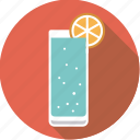 alcohol, beverage, cocktail, drink, gin tonic, glass, lemon icon