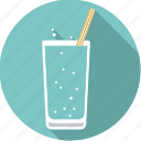 beverage, drink, glass, soda, sparkling, straw, water icon