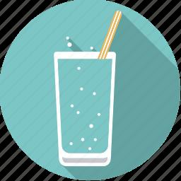 beverage, drink, glass, soda, sparkling, straw, water icon