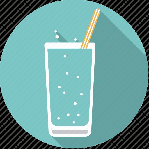 Beverage, drink, glass, soda, sparkling, straw, water icon - Download on Iconfinder
