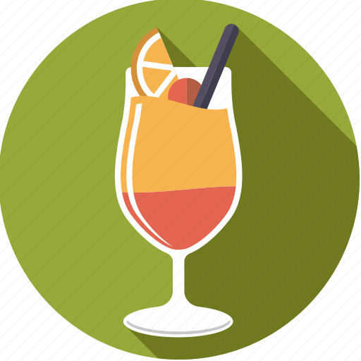 alcohol, beverage, cocktail, drink, glass, straw, tequila sunrise icon
