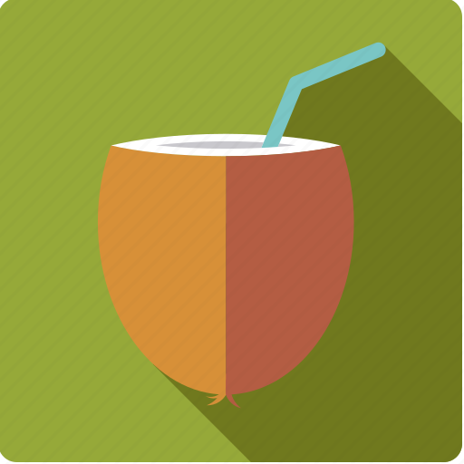beverage, coconut, drink, milk, straw, tropical icon