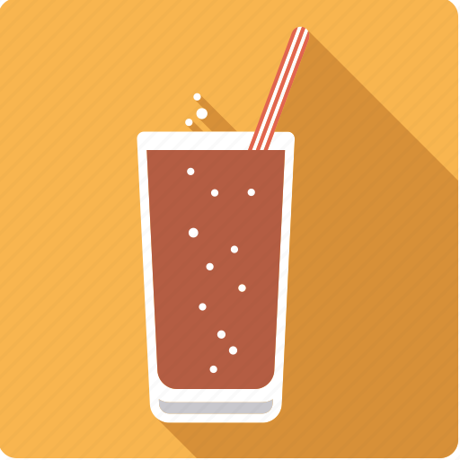 beverage, cola, drink, glass, soft, sparkling, straw icon