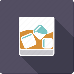 alcohol, beverage, drink, glass, icecube, tumbler, whiskey icon