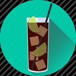 alcohol, beverage, cocktail, cola, cuba, drink, libre, lime icon
