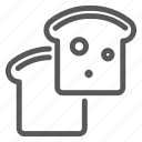 bakery, bread, bun, food, meal, pastry, toast icon