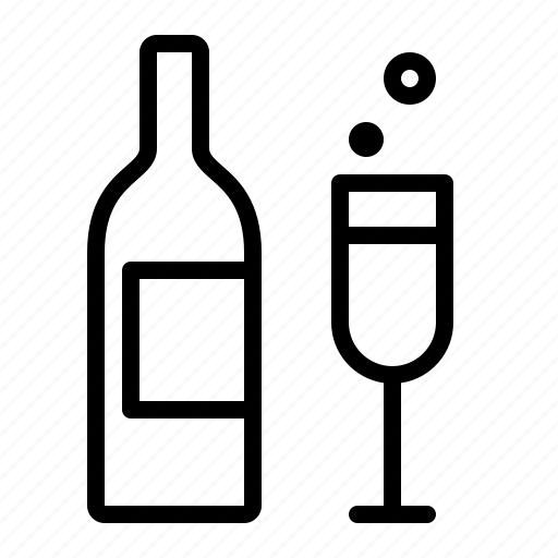 alcohol, bottle, celebrate, champagne, flute, ios, party icon
