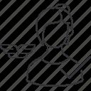 checkmark, female, pilot icon