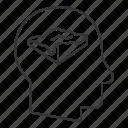 brain, digital, elevation, head, intelligence, mind, model icon