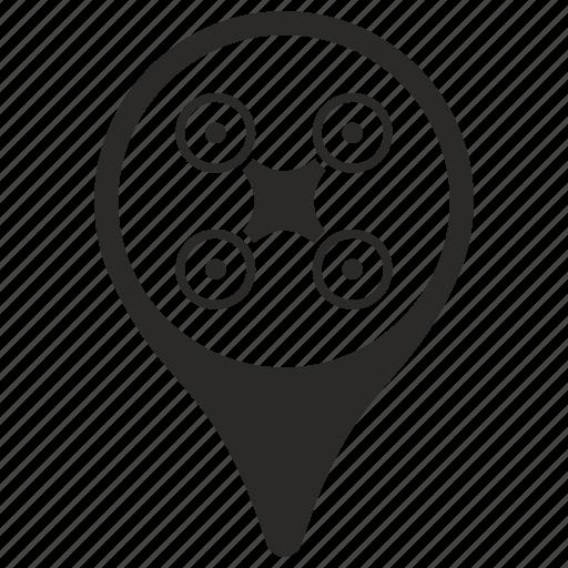 drone, geo, location, navigation, pointer icon