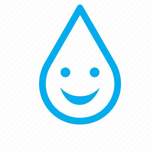 drop, droplet, face, happy, raindrop, smiling, water icon