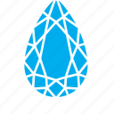diamond, drop, droplet, raindrop, water icon