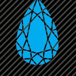 diamond, drop, droplet, raindrop, water icon