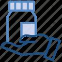 bottle, drugs, hand, medicine, pharmacy, pills bottle icon