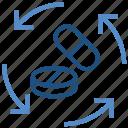 arrows, drugs, healthcare, medicine, pharmacy, pills, sync icon