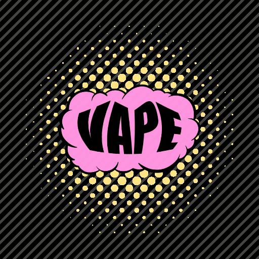 cigarette, comics, electronic, vape, vaping, vaporizer, word icon