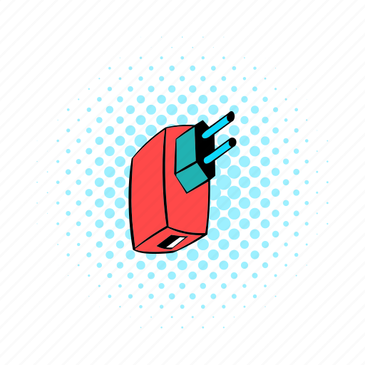 adapter, comics, connection, electric, plug, power, technology icon