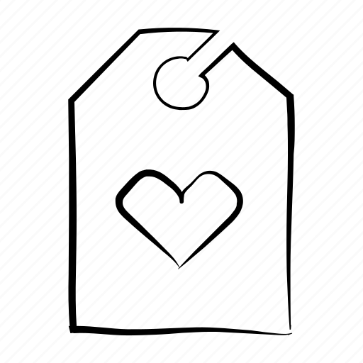 favourite, favourite tag, hand drawn, heart, tag icon