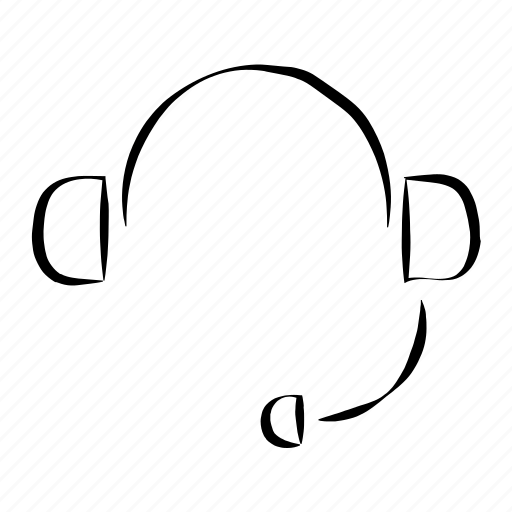 assistant, call canter, hand drawn, headphones, headset icon