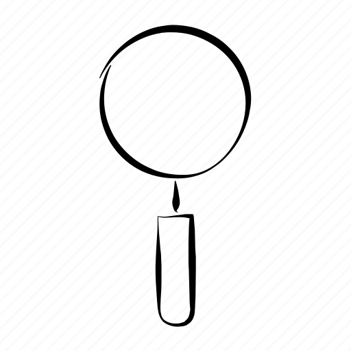 finf, hand drawn, magnifying glass, search, zoom icon
