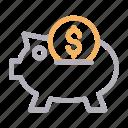 bank, dollar, ecommerce, piggy, savings
