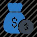 bag, cash, coin, dollar, ecommerce