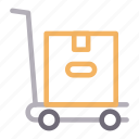 box, carton, dolly, package, trolley icon