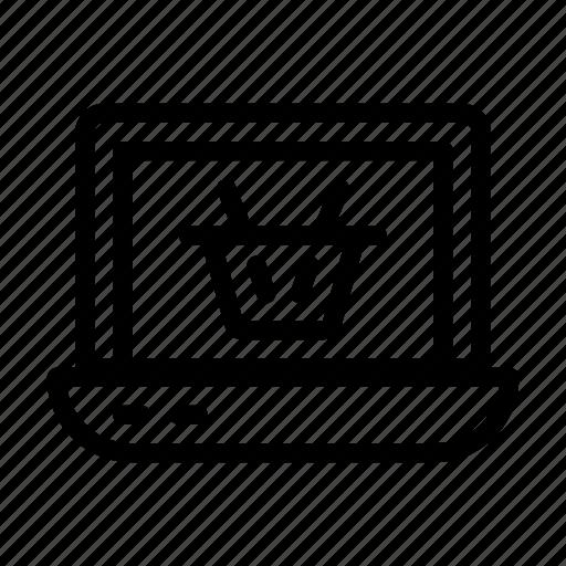 cart, ecommerce, laptop, online, shopping icon