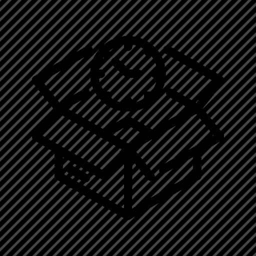 box, ecommerce2, time, turnaround, watch icon
