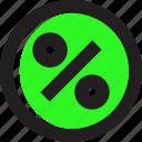 asset, circle, green, percent icon