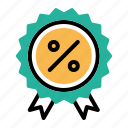 award, badge, ecommerce, finance, medal, percentage, ratio icon
