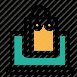 bag, carrybag, cart, handbag, laptop, shop, shopping icon